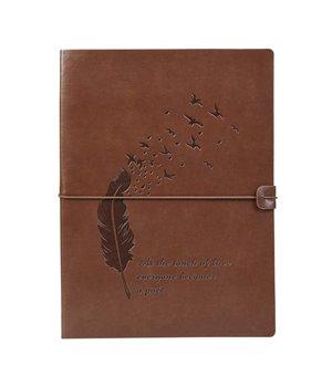 VEESUN Leder Notizbuch A4 mit Gummiband , Feder