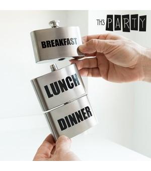 Th3 Party Breakfast-Lunch-Dinner Flachmann aus Metall