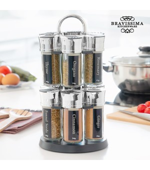 Bravissima Kitchen Gewürzregal mit 12 Gewürzen
