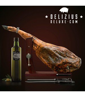 Set aus Schinken + Olivenöl + Gourmet PlusSchinkenhalter + Messer und Messerschärfer