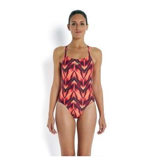 Damen Badeanzug Speedo Allover Riplleback Gedruckt (Größe 32)