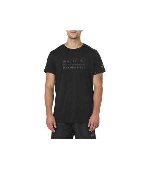 Herren Kurzarm-T-Shirt Asics GRAPHIC SS TOP Schwarz