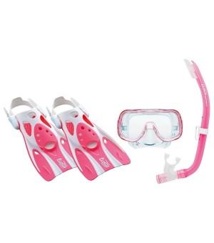 Tauchbrille mit Schnorchel und Flossen Tusa Sport Mini Kleio Silikon Rosa (Größe s)