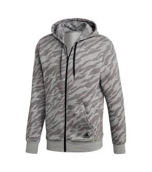 Herren Sweater mit Kapuze und Reißverschluss Adidas Ess Aop FZ Hry Grau (Größe xs - us)