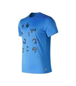 Herren Kurzarm-T-Shirt New Balance Prnt Acclrt Blau