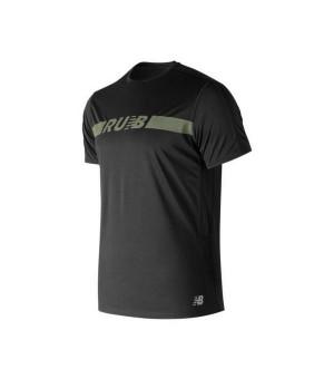 Herren Kurzarm-T-Shirt New Balance Prnt Acclrt Ss Schwarz