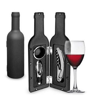 Weinzubehör im flaschenförmigen Etui (3 Teile)