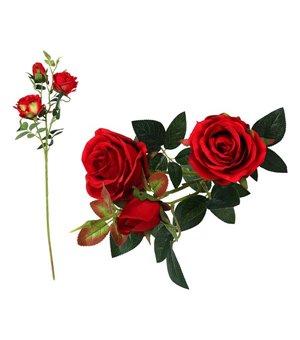 Zweig mit 5 Rosen 113199 Rot (60 Cm)