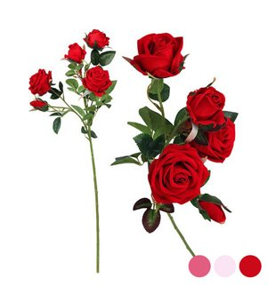 Zweig mit 5 Rosen Rosa 112994 (60 Cm)