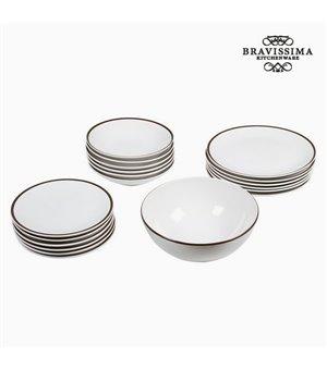 Tableware (19 pcs) China crockery Weiß Braun - Kitchen's Deco Kollektion by Bravissima Kitchen