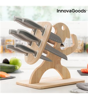 Messerset mit Holzhalterung Spartan InnovaGoods 7 Stücke