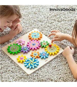 Zahnrad-Spiel aus Holz Engenius InnovaGoods 12 Stücke