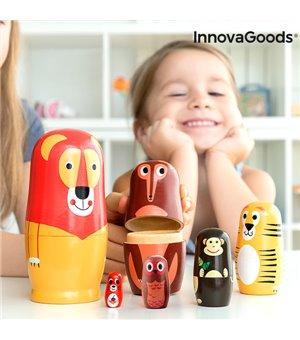 Matrjoschka aus Holz mit Tierfiguren Funimals InnovaGoods 11 Stücke