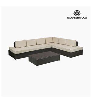 Wohnzimmer Sitzgruppe mit Tisch (200 x 87 x 61 cm) Rattan Beige Braun by Craftenwood