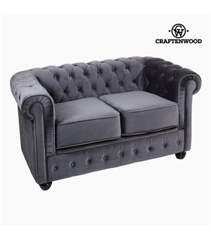 Chesterfield Sofa 2-Sitzer Samt Grau - Relax Retro Kollektion by Craftenwood