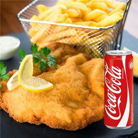 Wiener Schnitzel vom Kalbsrücken mit Bratkartoffeln und hausgemachter Remoulade + Coca Cola 0,33l