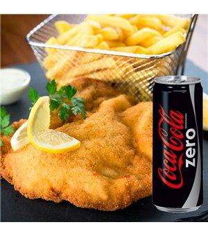 Wiener Schnitzel vom Kalbsrücken mit Bratkartoffeln und hausgemachter Remoulade + Coca Cola Zero 0,33l