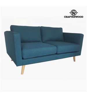 Zweisitzer-Sofa Kiefernholz Polyester Blau (148 x 88 x 83 cm) by Craftenwood