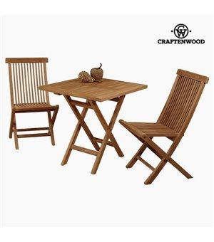 Tisch mit 2 Stühlen Teakholz (70 x 70 x 77 cm) by Craftenwood