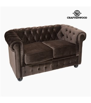 Chesterfield Sofa 2-Sitzer Samt Braun - Relax Retro Kollektion by Craftenwood
