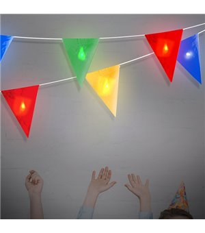 LED Lichterkette mit Flaggen (8 LED)