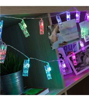 LED Lichterkette mit Fotoklammern (16 LED)