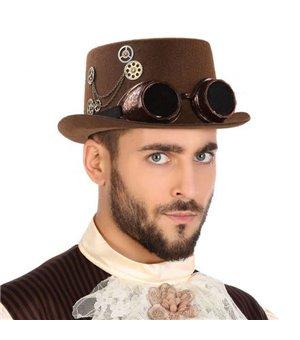 Hut aus Polyester Steampunk Braun
