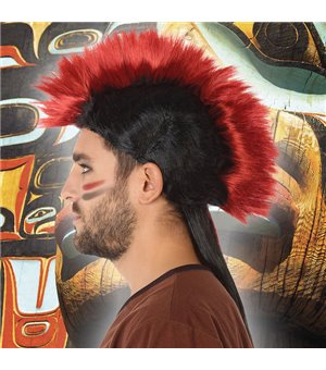 Perücke Indianer Granatrot