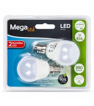 Kugelförmige LED-Glühbirne MegaLed P45-5 5W E14 4000K 390 lm Weißes licht (2 Pcs)