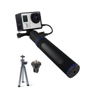 Selfie-Stab mit Powerbank für die Sportkamera 5200 mAh Schwarz