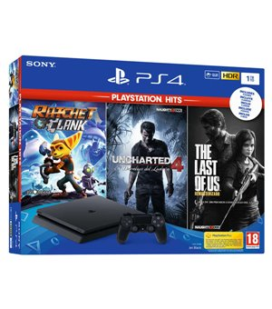 PlayStation 4 Slim + Ratchet & Clank + Uncharted 4 + The Last of Us Sony Schwarz